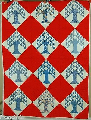 BEAUTIFUL Vintage 40's Red, White & Blue Tree of Life Antique Quilt!