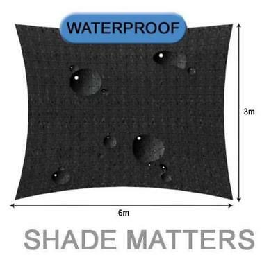 New Waterproof Shade Sail- Rectangle 3m x6m Black Color