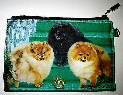 POMERANIAN  Zippered Pouch/Maystead/full color both sides/NEW