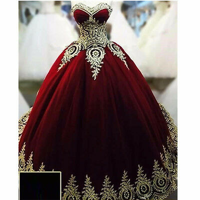 New Burgundy Tulle Quinceanera Dresses Ball Gown Gold Applique Prom Gown Custom