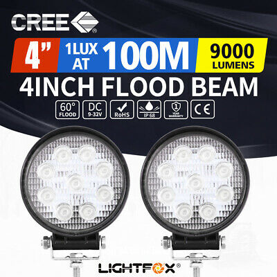 2x 27W Round LED Work Light Flood Reverse Lamp 4WD Offroad Truck Ute