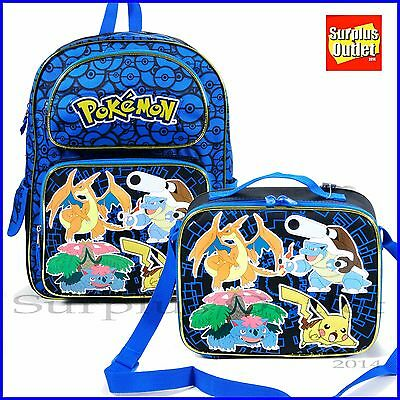 "Pokemon Backpack 16"" Large School  Backpack Lunch Bag 2pcs Set"