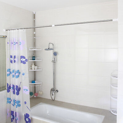 Songmics Stainless Steel Extendable Telescopic Shower Curtain Rail White Color