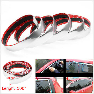 2.5M 30mm Car Silver Chrome Moulding Trim Strip Decoration Door Bumper Edge Roof