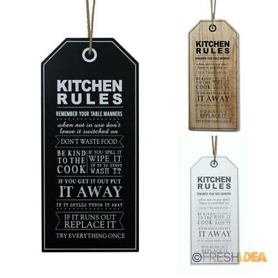 Kitchen Rules - Wooden Vintage Style Wall Hanginga Plaque Home Décor 55cm