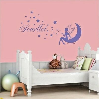 Fairy Wall Stickers Personalised Any Name Stars Girls Bedroom Kids Art Vinyl