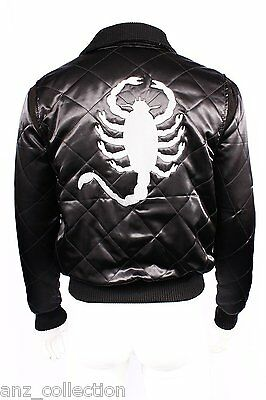 Drive Ryan Gosling Silver Scorpion Men's Fitted Black Satin Retro Movie Jacket