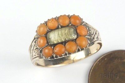 ANTIQUE ENGLISH LATE GEORGIAN 9K GOLD CORAL & HAIR LOCKET MOURNING RING c1830
