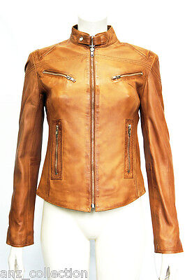 Joan Tan Ladies Woman's Short Vintage Real Sheep Washed Waxed Leather Jacket