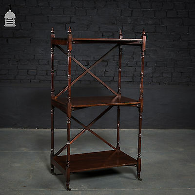 19th C Rosewood X Frame Shelving Unit with Turned Finials