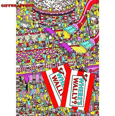 Where's Wally? Wrapping Paper 2 Sheets 2 Tags Free Post!