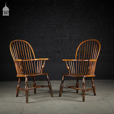 Pair 18th C Elm Windsor Stick Back Chairs