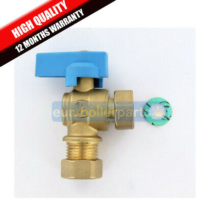 "Isolating Valve 1/2"" 15mm 90 degrees angled BRAND NEW HIGH QUALITY BLUE"