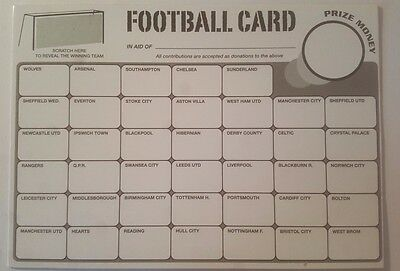 Football Fund Raising Scratch Cards/Charity Events/Fetes/Bar Pub Games
