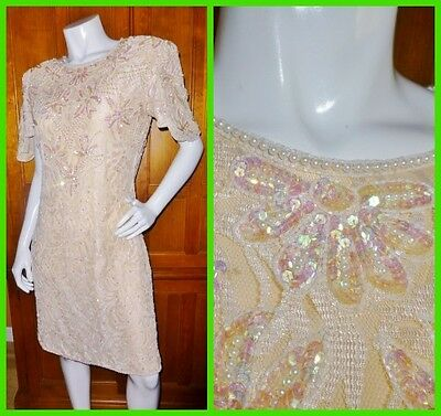 Vtg 80s ART DECO Nude Lace Sequin Bead Pearl EMBROIDERED Cocktail Formal DRESS M