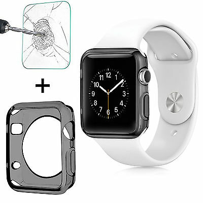 Apple Watch TPU Clear Slim Case Soft Cover + Tempered Glass for iWatch 38/42mm
