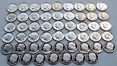 1965 - 2017 S Clad Roosevelt Dime Proof & SMS Complete Set 53 Coins
