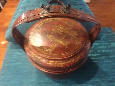 """Vintage Chinese Wedding Basket Lacquered Gilt Ornate Hand Painted 11"""" X 12"""" Tall"""