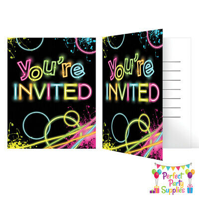 Glow Party Card Invitations Neon Birthday Party Supplies