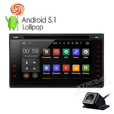 QUAD-CORE Double 2 DIN HD Android 5.1 System Car DVD Stereo GPS USB DAB+ Camera