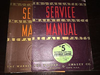 Warner & Swasey No 5 Turret Lathe Installation Maint Repair Parts Service Manual