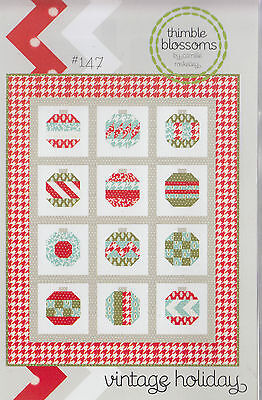 Vintage Holiday - modern pieced Christmas quilt PATTERN - Thimble Blossoms