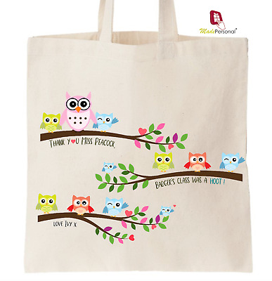 PERSONALISED Thank You Teacher School Gift Cotton Tote Bag- Owl Design