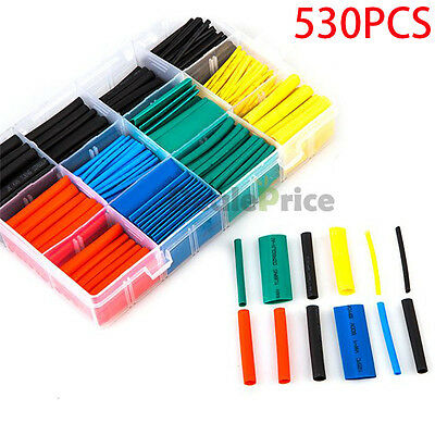 530Pcs 2:1 Heat Shrink Tubing Tube Sleeving Wrap Cable Wire 5 Color 8 Size