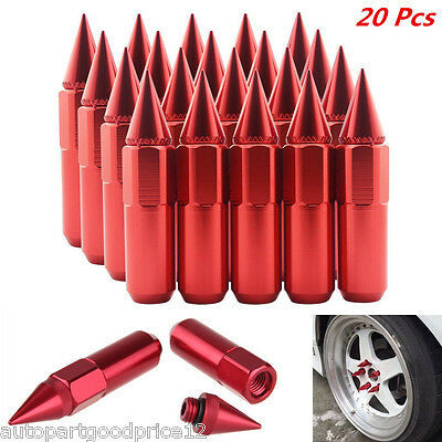 20Pc M12 x 1.5 Red Aluminum Spiked Wheel Extended Tuner Lug Nuts For Hyundai Kia