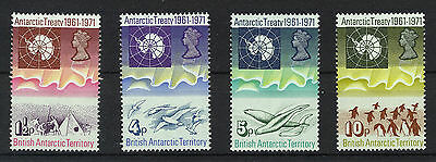 BRITISH ANTARCTIC TERRITORY 1971 10th ANNIVERSARY TREATY PLATE BLOCKS OF 4 MNH