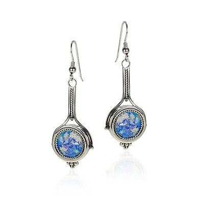 Beautiful New 925 Sterling Silver & Roman Glass Earrings Unique Round Design