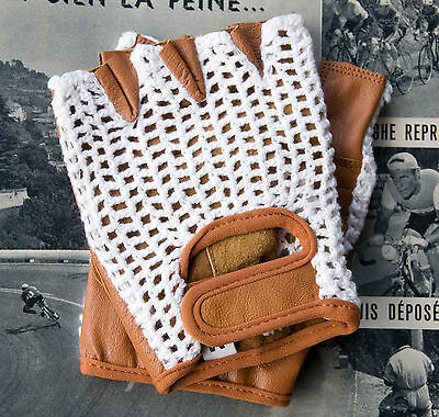 Vintage Style White & Tan Leather Crochet Cycling Gloves Track Mitts L'Eroica