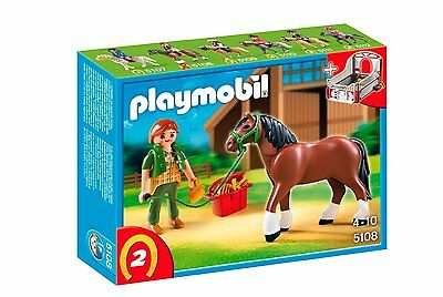 BNIB Playmobil 5108 HORSES Country Shire Horse with Rider and Stable