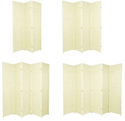 ENTWINE Ivory Hand Made Woven Room Dividers Square Top 3, 4, 5,6 Panel Off White