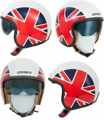 Spada Raze Empire White/Red/Blue Open Face Motorcycle Helmet Sun Visor