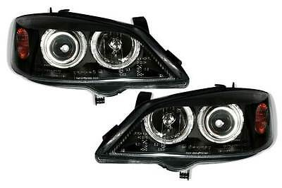 Vauxhall Astra G Mk4 1998-2004 Black Angel Eyes Halo Headlights Pair