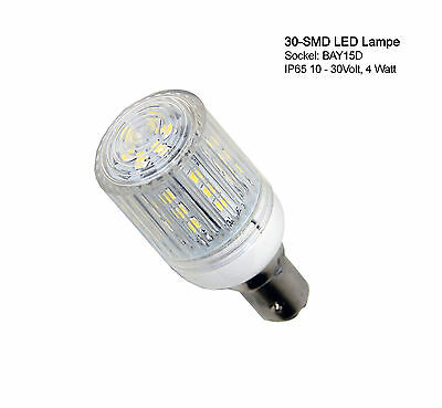 Ampoule 30 SMD LED BAY 15D feux position imperméable IP65 BAY-15D 10-30V Marine