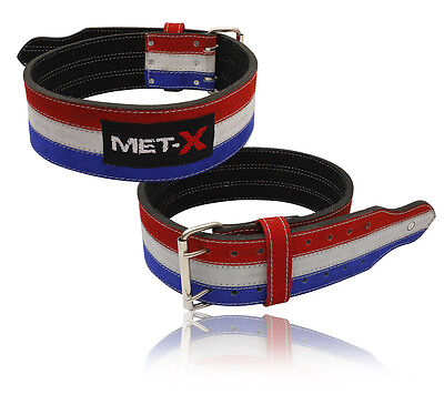 Met-X Power Lifting Belts Weightlifting Fitness Belts Back Support Blue+White