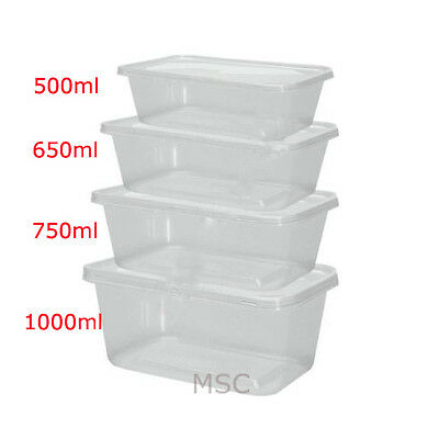 Microwave Freezer Clear Plastic Food Safe Takeaway Storage Containers + Lids