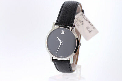 Ladies Movado 0606130 Museum Black Dial Black Leather Strap Watch