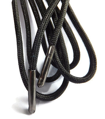 5mm Black Round Extra Strong METAL TIPPED Shoelaces - Boots, Shoes, Hiking B3G1F