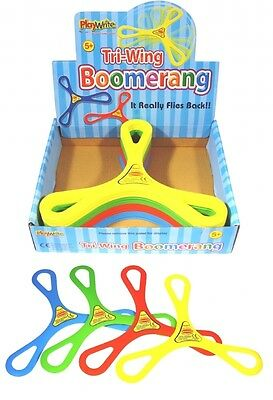 Tri-wing Boomerang Flying Toy Red Yellow Green Or Blue
