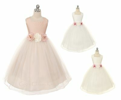 New Flower Girl Ivory Dress Wedding Bridesmaid Birthday Formal Pageant Party 135
