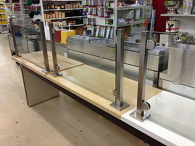 Expandable Modular Bakery and Pizza Display Gloss White Sneeze Guard