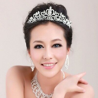 Crystal Tiara Crown Veil Headband Wedding Prom Pageant Crown Headpiece