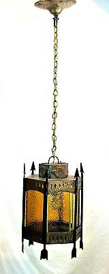 40s Copper/Brass Arts & Crafts  Arrow Stained Glass Ceiling Light Fixture
