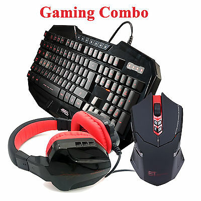 ARES K3 3 Backlit Gaming Keyboard CT-820 Red Headset ET X08 Wireless Mouse Combo