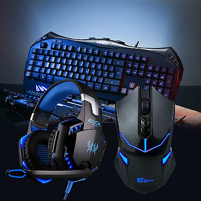 ARES K5 Illuminate Gaming Keyboard Wired Headphone Headset &Wireless Mouse Combo