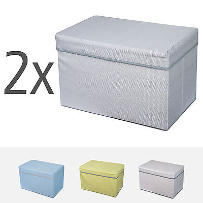 2x Linen Fabric Blanket Box Foldable Stackable Storage Ottoman Foot Stool Colors