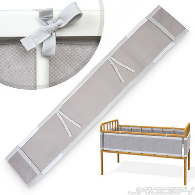Nursery Baby Bumper Kid Child Cot Cotbed Cover Protection Bedding Unisex Grey